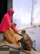 women with monkey